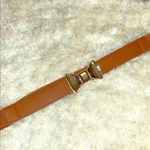 Brown rhinestone bow belt